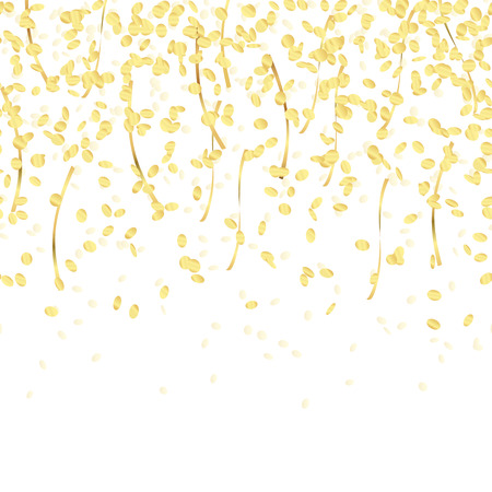 gold colored falling confetti seamless background for carnival party