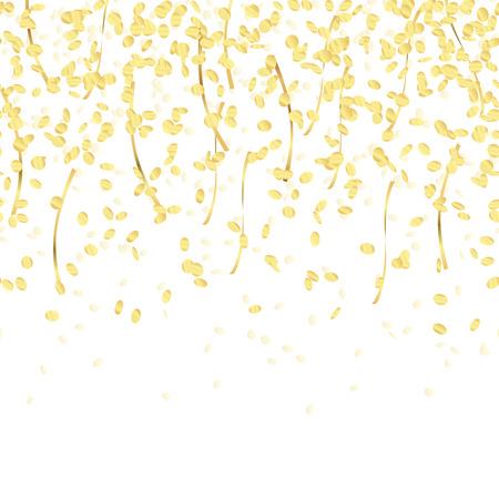 parade confetti: gold colored falling confetti seamless background for carnival party