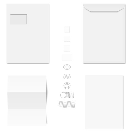 din: collection of white envelopes, writing paper and postage stamps