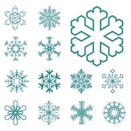 collection of different blue snowflakes on white background 일러스트