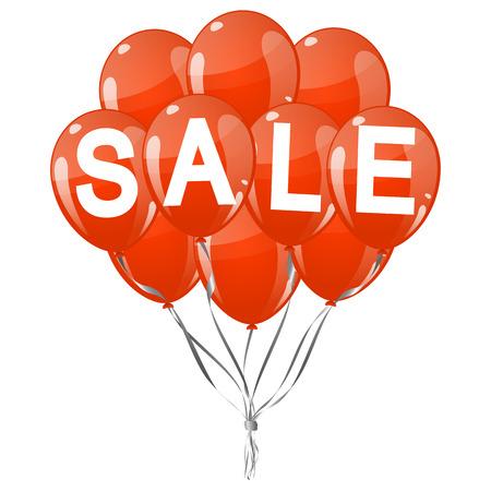 end of summer: many red colored flying balloons with text SALE