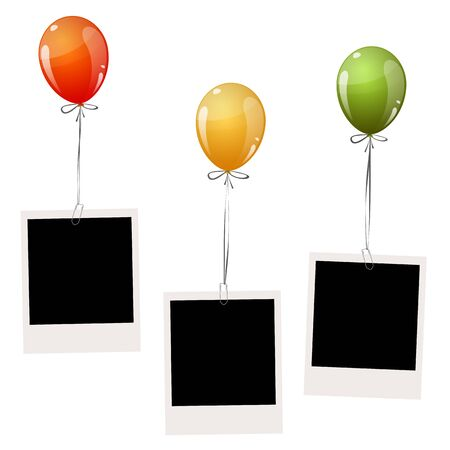 colored balloons: three old empty photos hanging on flying colored balloons Illustration