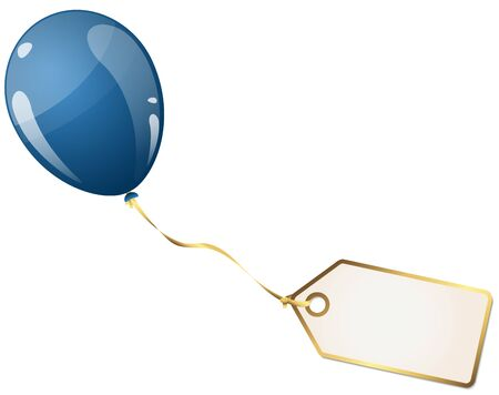 flying colored balloon with empty white golden hangtag Vector