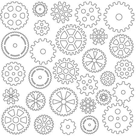 collection of gears silhouettes for own arrangement