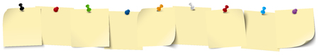 pinboard: little sticky papers in a row with colored pin needles and free copy space