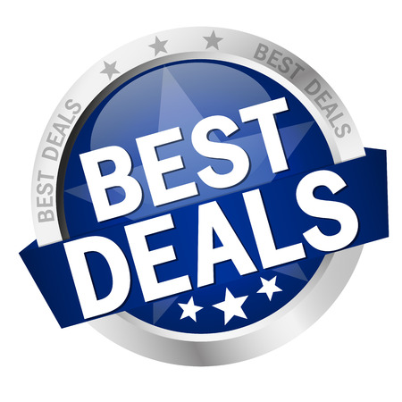 price hit: round button with banner and text Best Deals Illustration