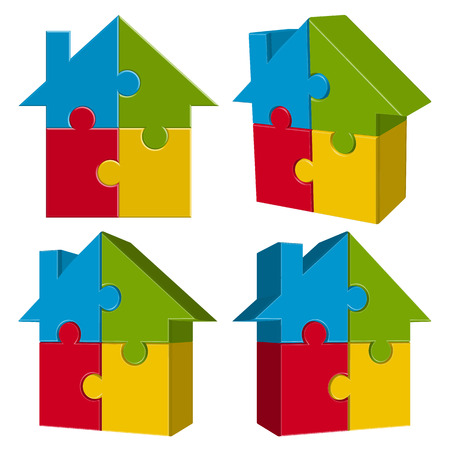 prefabricated: collection of three dimensional puzzle house with four colored parts