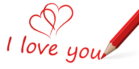 connectedness: red pen with text I love you and two hearts