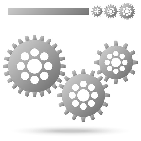 technically: three gray gears for cooperation or teamwork symbolism