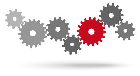 engranes: engranajes grises para la cooperación o el trabajo en equipo con el simbolismo líder rojo