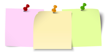 little sticky papers in a row with colored pin needles and free copy space