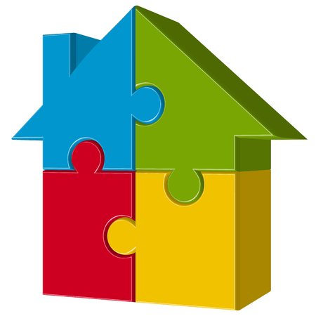 home ownership: three dimensional puzzle house with four colored parts