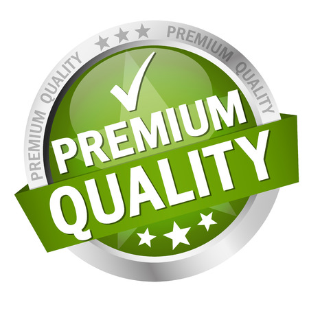 customercare: round button with banner and text Premium Quality