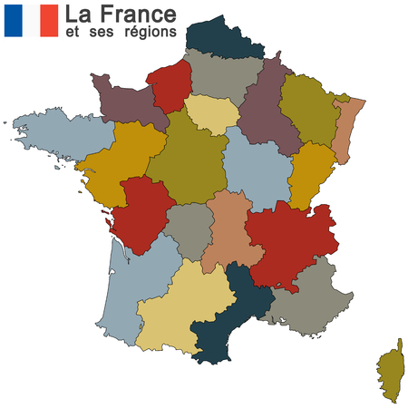 regions: silhouettes of country France and the regions