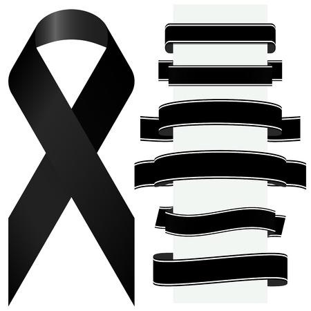 luto: concepto duelo con cinta de la conciencia negro y diferentes banners Vectores