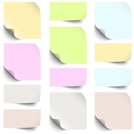 provide information: little sticky paper collection with shadow in six different colors