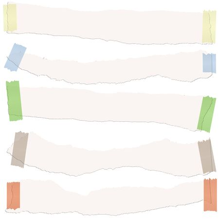 collection of five white colored scraps of papers with adhesive strips