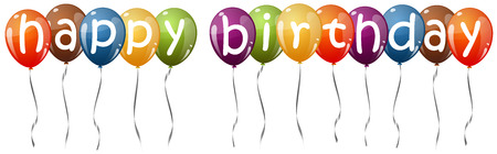 childrens birthday party: many multi colored flying balloons with text HAPPY BIRTHDAY Illustration