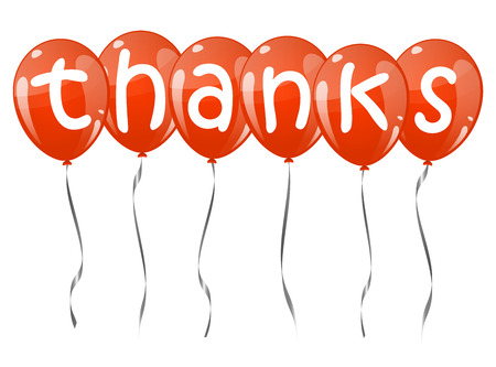 many thanks: six flying balloons red colored with text THANKS