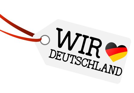 hangtag: white hangtag with ribbon and text we love germany and heart flag