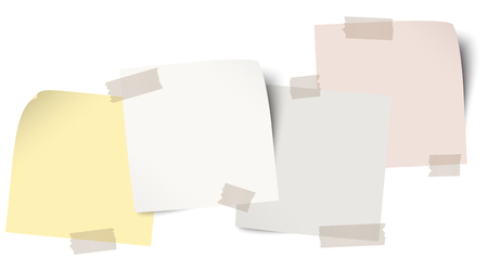 little sticky papers in a row with colored adhesive tape and free copy space Vector