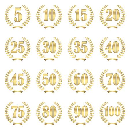 collectie van lauwerkransen voor een stevige jubileum van 5 tot 100 jaar Stock Illustratie