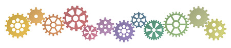 collaboration team: colored gears row for cooperation or teamwork symbolism