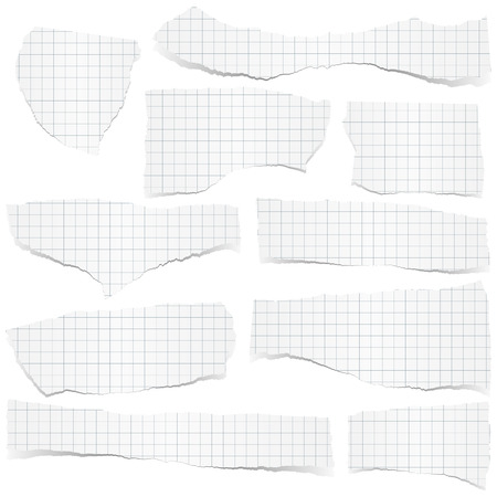 tore: collection of white checkered scraps of papers with shadows