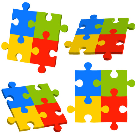 successfully: collection of puzzle teamwork business info graphics