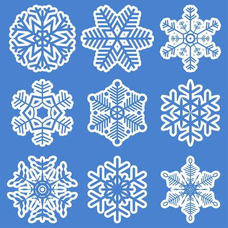 flurry: collection of different white snowflakes on blue background