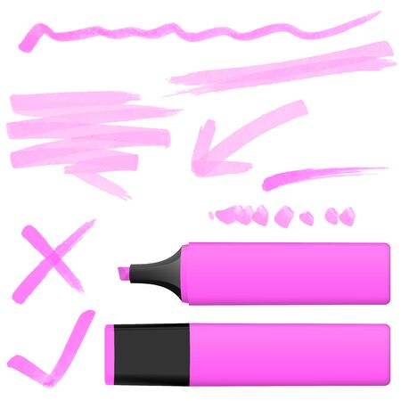 markings: pink colored highlighter with different hand drawn markings Illustration