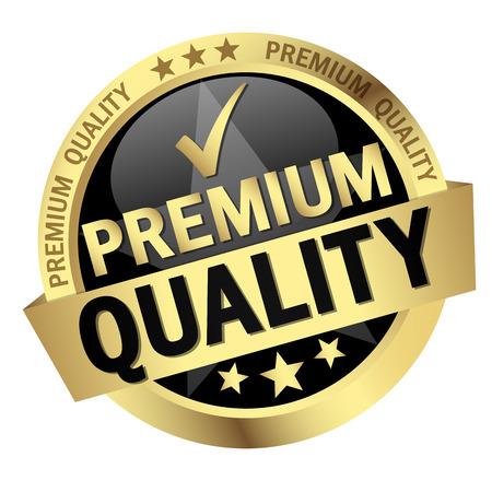 servicio al cliente: botón redondo con la bandera y el texto Calidad Premium