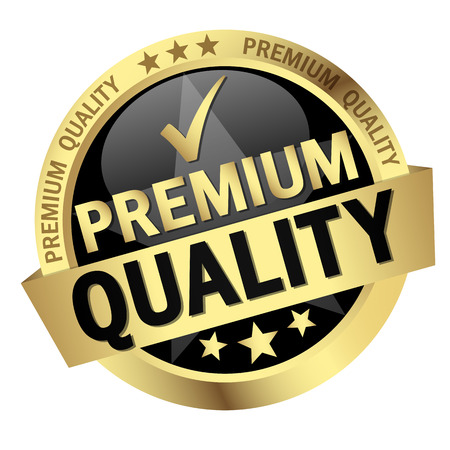 round button with banner and text Premium Quality