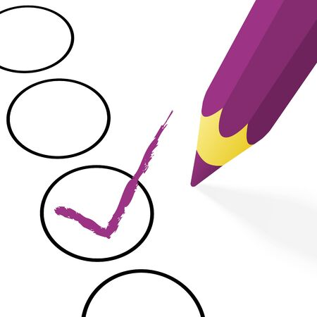 tick mark: illustration of pencil colored purple drawing a hook