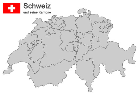 frontier: silhouettes of country Switzerland and all cantons Illustration