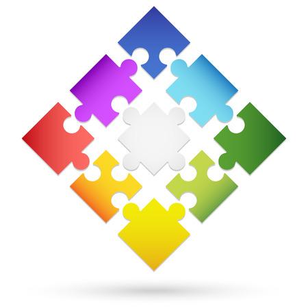 symbolism: nine colored puzzle parts for teamwork symbolism