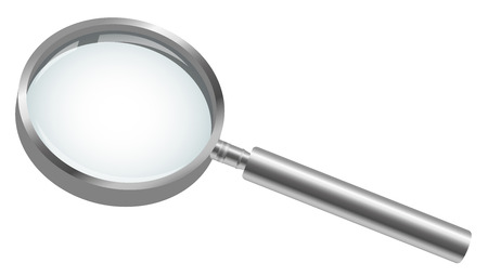 scrutiny: three dimensional magnifying glass colored silver for searching symbolism
