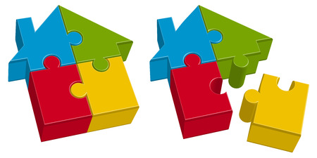 land development: three dimensional puzzle house with four colored parts