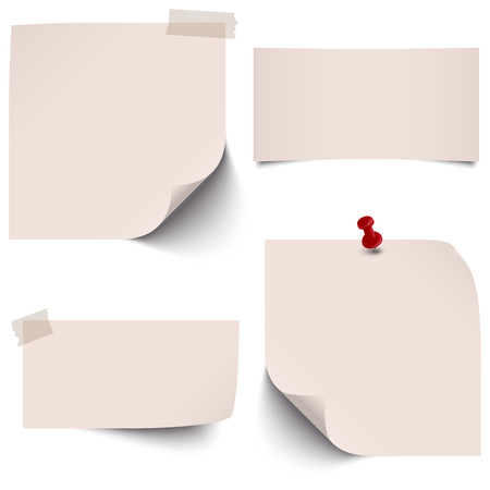 adhesive tape: little sticky paper collection with colored pin needle and adhesive tape