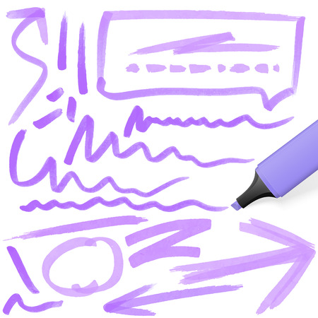 felt tip: purple colored highlighter with different hand drawn markings Illustration