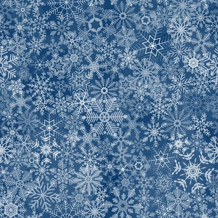 flurry: seamless abstract pattern with white snowflakes on blue background Illustration