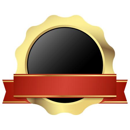 gouden zegel van kwaliteit sjabloon met rode banner