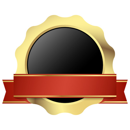 gold seal of quality template with red banner