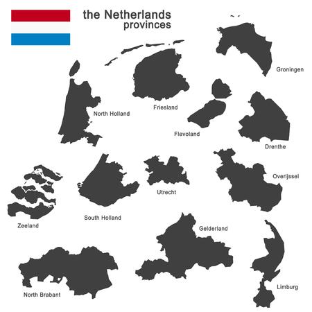 silhouet van de Nederland en de regio's Vector Illustratie