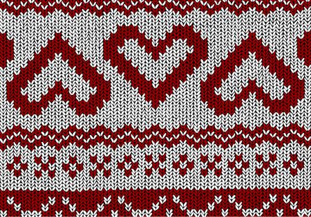 Norwegian pattern Hearts Christmas Vector