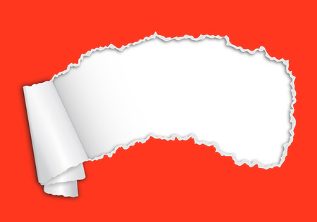 Red torn paper with space for text
