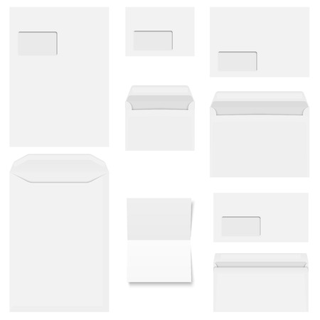 chit: Collection of white envelopes with copy paper Illustration