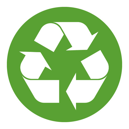 waste recovery: Recycling symbol white on green Illustration