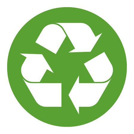 simbolo: Simbolo di riciclaggio bianco su verde