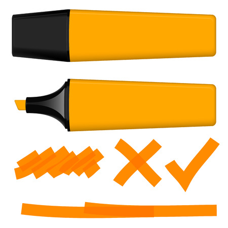 markings: Highlighter with orange markings Illustration